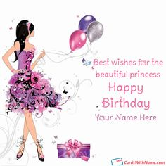 Printable Happy Birthday Cards For Girls With Name Photo On Best Online Generator And Send Wishes Editing Options