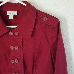 Ann Taylor LOFT    Jacket Maroon. Double buttons. Two front faux pockets. 97% cotton. 3% spandex. EUC. Reposh from @j9design. It's a great jacket, beautiful color, I just haven't worn it. LOFT Jackets & Coats