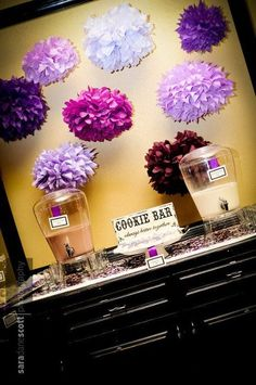 Cookie bar with big milk and chocolate milk dispensers - way better than a candy bar! Party Catering, Catering Ideas, Wedding Inspiration, Wedding Ideas, Breakfast Buffet, Dessert Tables, Sister Wedding, Candy Buffet, Bar Mitzvah