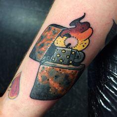 Zippo lighter tattoo art by Instagram user @ racotattoo