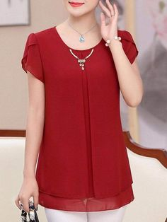 Best 12 Shop Autumn Spring Polyester Women Round Neck Plain Short Sleeve Blouses online with high quality and hurry to get fashion on Blouse Styles, Blouse Designs, Short Sleeve Blouse, Short Sleeve Dresses, Short Frocks, Stitching Dresses, Sleeves Designs For Dresses, Dress Patterns, Blouses For Women