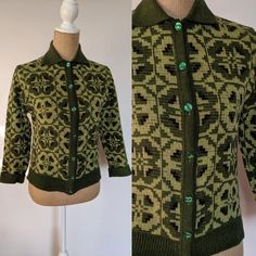 Your place to buy and sell all things handmade Bright Green, Green Colors, 1950s Outfits, Knit Cardigan, All Things, Label, Neckline, Closure, Wool