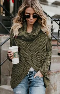 Knitwear Fashion Crossover European And American Sweater Green Sweater Outfit, Olive Green Sweater, Sweater Outfits, Olive Green Outfit, Casual Fall Outfits, Classy Outfits, Cool Outfits, Fashion Outfits, Fashion 2018