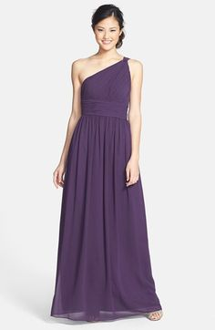 a2bea3730cb1 Donna Morgan 'Rachel' Ruched One-Shoulder Chiffon Gown An elegantly knotted  shoulder gathers the pleated bodice of a stately, Grecian-inspired gown.
