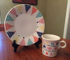 Fiesta® Pastel Christmas Tree Luncheon Plate And Matching Mug made by Homer Laughlin China Company Christmas China, Christmas Dishes, Christmas Tree, Fiesta Kitchen, Rainbow Kitchen, Christmas Dinnerware, Homer Laughlin, Farmhouse Kitchen Decor, Coordinating Colors