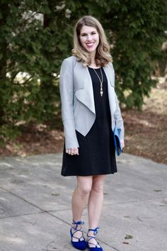 Fashion blogger I Do DeClaire styles a simple black dress with flats, jewelry & a jacket for a versatile spring look.