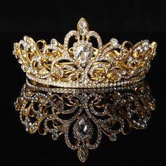 Bride Gold Silver Rhinestone Crystal Crown Tiara Head Jewelry Princess Queen Wedding Headpiece