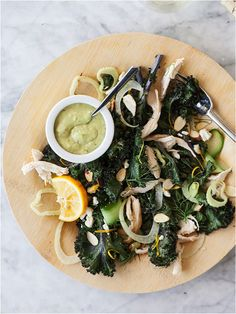 Kale and fennel salad - kale has 684% of the daily value of vitamin K - among other things! And fennel aids against anemia, indigestion and flatulence as well as being a great source of potassium. Fennel seeds and kale have been shown to reduce risk of certain types of cancer and heart diseases.