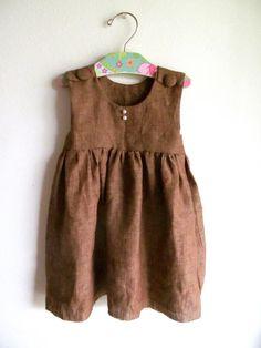 Girls Brown Linen Dress