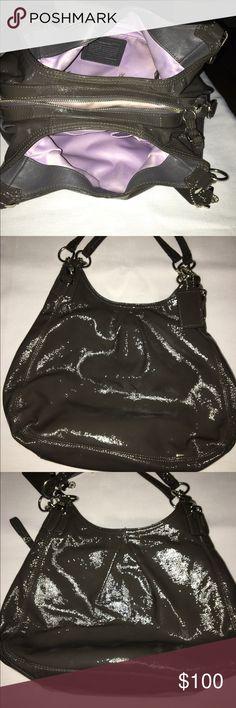 Coach Patent Handbag Authentic & Very Good Condition Gray Patent Shoulder Bag Coach Bags Shoulder Bags
