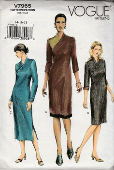 Vogue Sewing Pattern Misses or Petite Dress, Sz FF Vogue Sewing Patterns, Petite Dresses, Pullover, Shirt Dress, How To Wear, Shirts, Fashion, Shirtdress, Moda