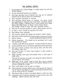 1940s school uniform rules
