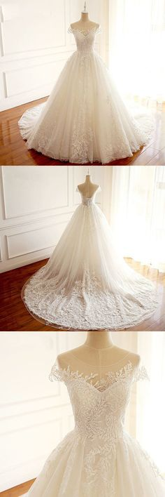 Short Sleeves Scoop High Quality Princess Wedding Dresses, Elegant Most Popular Real Made Bridal Gowns with train by MeetBeauty, $195.64 USD