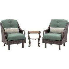 Ventura 3-Piece All-Weather Wicker Patio Chat Set with Ocean Blue Cushions