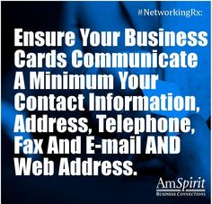 #NetworkingRx: Aside from name what is the most important item on your business card?