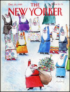 Ronald Searle - The New Yorker cover, Dec.25, 1989