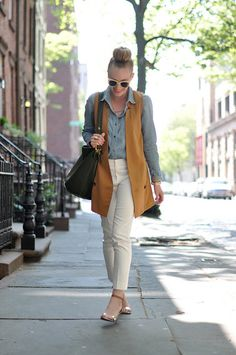 mustard vest and white pants // by eat.sleep.wear.