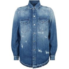 Marcelo Burlon Embroidered Denim Shirt ($565) ❤ liked on Polyvore featuring men's fashion, men's clothing, men's shirts, men's casual shirts, mens distressed shirt, mens wing collar shirt, mens destroyed t shirt, mens ripped shirts and mens print shirts