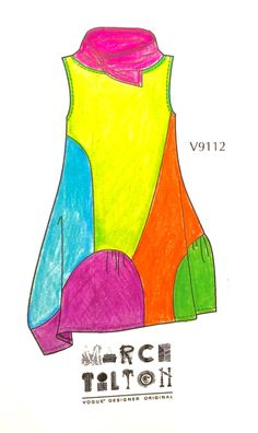 McCall's just put out a free PDF coloring book of some of their new Vogue summer patterns. This is my interpertation of Marcy Tilton's V9112.