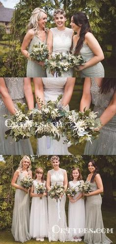 Mermaid V-neck Sleeveless Sequin Appliqued Long Cheap Wedding Party Bridesmaid Dresses, Elegant Bridesmaid Dresses, Wedding Dresses, Sequin Appliques, Famous Brands, Dream Dress, Dress Making, Bodice, Tulle, Flower Girl Dresses