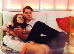 "Zoey Deutch & Dominic Sherwood. ""dom playing video games in the young hollywood green room, not paying attention to me."""