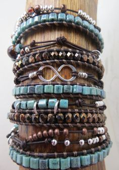 Leather Wrap  5 Wrap with Extra by OrnamentationbyMary on Etsy, $75.00