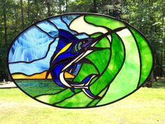 Marlin leaping within Wave stained Galss on Handmade Artists' Shop Stained Glass, Waves, Artists, Handmade, Stuff To Buy, Shopping, Stained Glass Windows, Ocean Waves, Stained Glass Panels