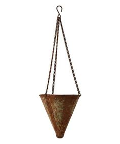 This Distressed Metal Hanging Cone Planter is perfect! #zulilyfinds