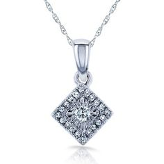 Shop for Annello by Kobelli 10k White Gold 1/10ct TDW Multi-stone Princess Diamond Necklace (H-I, I1-I2). Get free delivery at Overstock.com - Your Online Jewelry Destination! Get 5% in rewards with Club O!