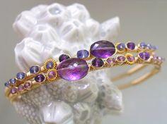 Amethyst Tanzanite Gold Cuffs, Stacking, Lilac Sapphire, Wrapped Bracelets, Set, Violet, Purple, Lilac, Original Design, Signature
