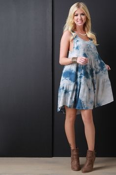 Tie Dye Scoop Neck Sleeveless Shift Dress