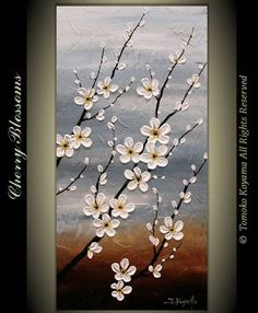 """Original Modern Art  Painting on Gallery wrapped Canvas 18"""" x 36"""", Home Decor, Wall Art ---Cherry Blossoms---"""