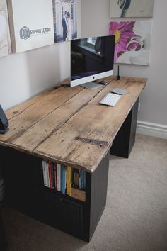 I built this desk out of a 100+ year old wood door from my barn and IKEA shelves. I cleaned it and finished it with clear coat. Very little work and an awesome result!