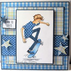 Masculine handmade card Welcome to Cats Whiskers: LOTV Oliver Skateboard - Paper crafts/lettering/transfers - Enschulung Teenage Girl Birthday, Birthday Cards For Boys, Masculine Birthday Cards, Handmade Birthday Cards, Happy Birthday Cards, Masculine Cards, Handmade Cards, Boy Cards, Kids Cards