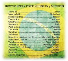 learn portuguese in 5 minutes How To Speak Portuguese, Portuguese Words, Learn Brazilian Portuguese, Portuguese Lessons, Portuguese Language, Portuguese Quotes, Portuguese Brazil, Common Quotes, French People