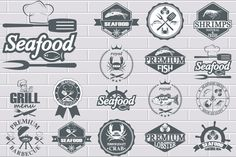 set of seafood labels by Tomass2015 on Creative Market