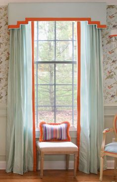 Modern cornice board pale blue silk with orange trim One Room Challenge - Dining Room Reveal Stephanie Kraus Designs Window Cornices, Valance Window Treatments, Custom Window Treatments, Window Coverings, Cornice Box, Curtain Styles, Curtain Designs, Wood Valance, Curtains With Blinds