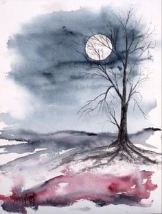 """Moon Light"" Gothic dark surreal modern landscape watercolor painting"