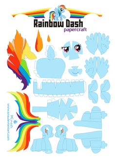 a simple set of instructions for this papercraft of rainbow dash. finished photo:[link] i do not own rainbow dash or anithing related to friendship is magic ,MLP all (c) hasbro / lauren Faust, not . My Little Pony Party, Fiesta Little Pony, My Little Pony Craft, Cumple My Little Pony, Rainbow Dash Party, Rainbow Dash Birthday, 3d Paper Crafts, Paper Toys, Paper Paper