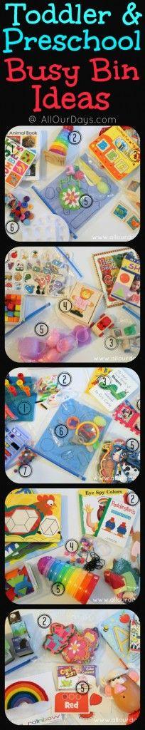 Toddler & Preschool Busy Bin Ideas @ AllOurDays.com