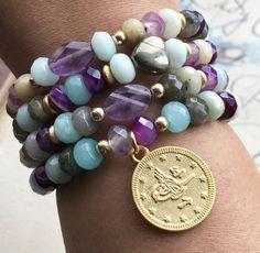 Excited to share the latest addition to my #etsy shop: Boho Bracelets - Bohemian Bracelets - Stack Bracelets - Gemstone Bracelets - Gold Coin Bracelets - Stretchy Bracelets - Amazonite - Boho