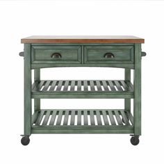 Three Posts Fortville Kitchen Cart with Wood Top Base Finish: Antique Denim Kitchen Island With Drawers, Mobile Kitchen Island, Kitchen Island Cart, Hamptons Kitchen, Butcher Block Top, Home Building Design, Wood Counter, Wooden Tops, Low Shelves