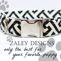 Summer Dog Collar in Black and White by Zaley Designs - Great pattern for dogs in weddings!