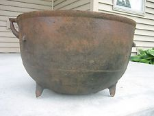 Antique large cast iron kettle cauldron garden pot fire pit 21 dia antique 18 cast iron pot planter footed camp fire cauldron workwithnaturefo