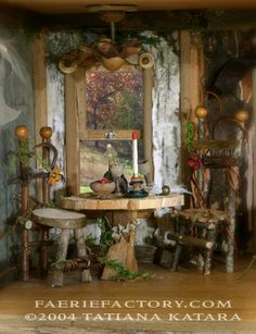 Faerie Dining Room  -  Every cozy kitchen should have a wonderful view. The faerie houses I make are usually quite light & portable. This makes it easy to adjust the positioning of the house to feature a desired view.