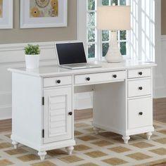 Home Styles Bermuda Brushed White Pedestal Desk | Hayneedle