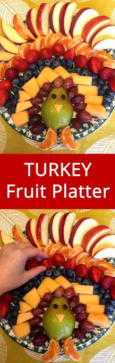 Turkey Fruit Platter :) Lots of AMAZING Thanksgiving recipes on this site! | MelanieCooks.com