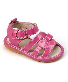 Loving this Hot Pink Twist Squeaker Sandal on #zulily! #zulilyfinds