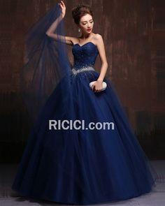 e8b7c49dc5d Robe De Ceremonie Quinceanera De Bal Bleu Roi Bustier Encolure Coeur Longue  Belle Tulle Sans Manches Plissée Élégant Vintage