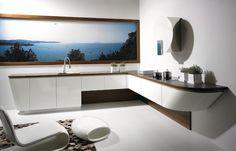 Cuisine design concept MareCucine par ALNO adapté à une cuisine en L avec hotte Space de Elica